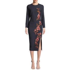 cinq a sept Navy Embroidered Floral Cocktail Midi